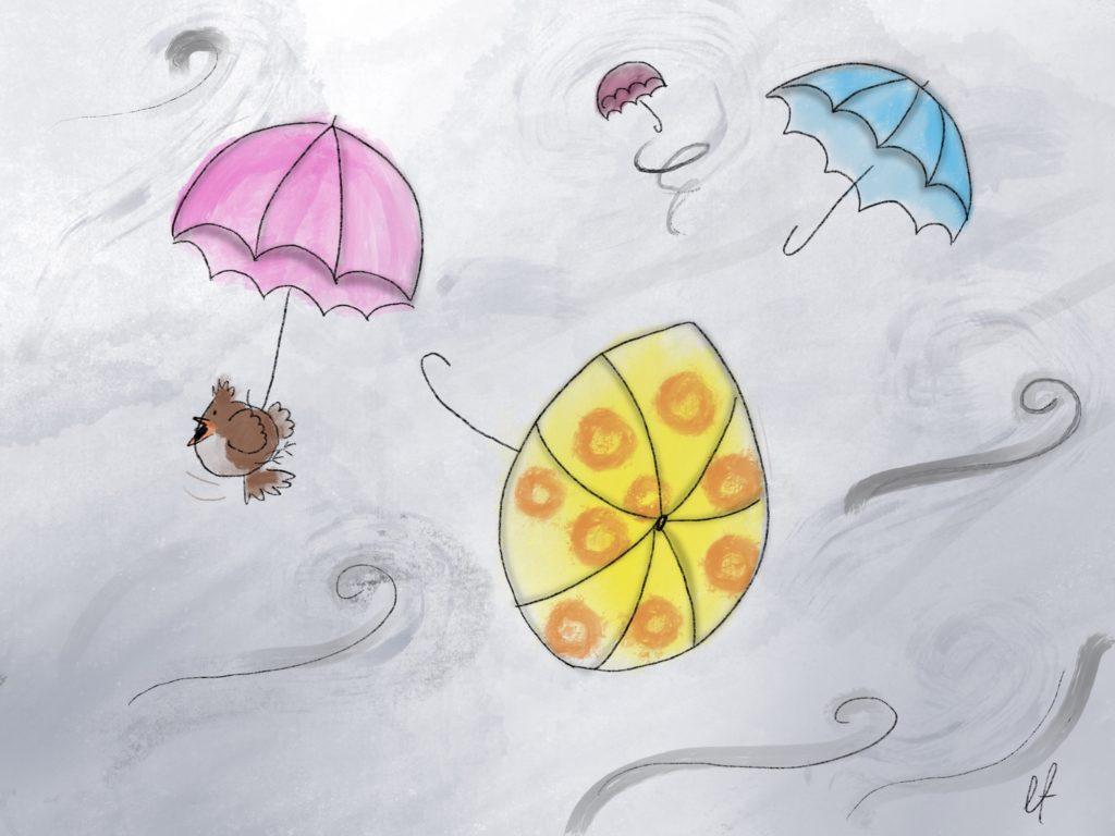 Wiatr porwał parasole!