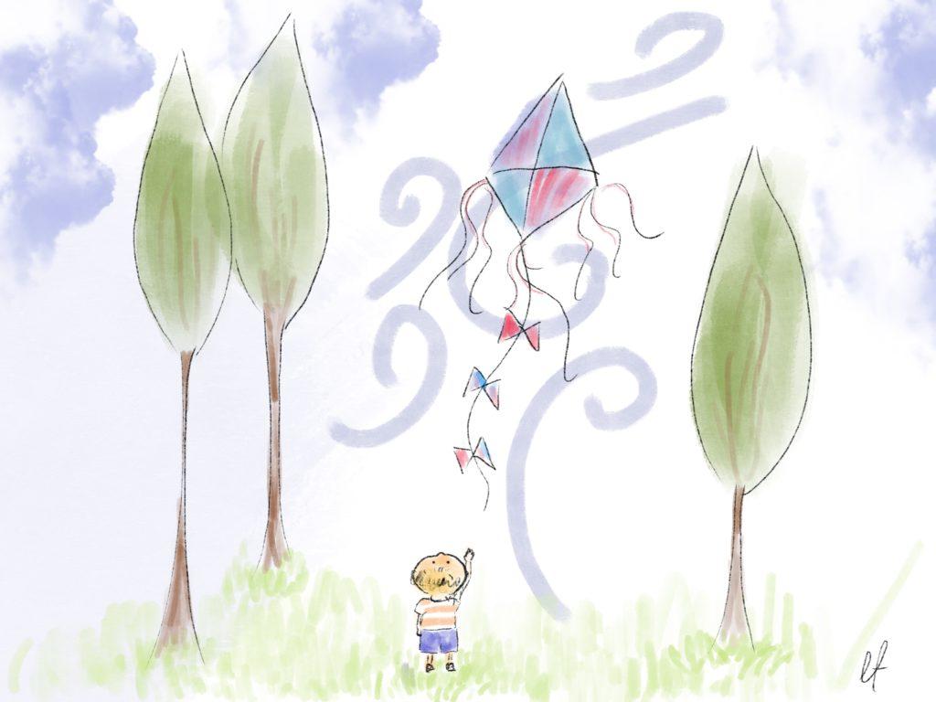 Wiatr porwał latawiec małego Dziadka.